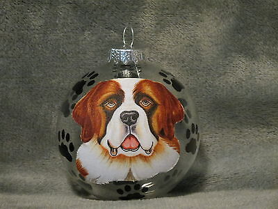 Hand Made Saint Bernard Glass Christmas Ornament / Ball