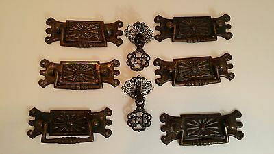 Lot of 8 Antique Victorian Tin Brass Drawer Handle Pulls - old ornate hardware