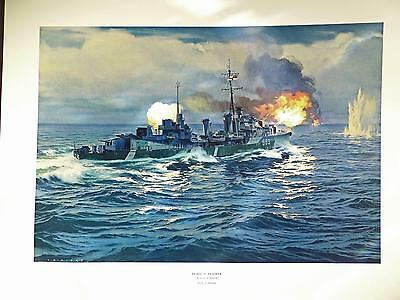"""HMCS HAIDA CANADIAN WWII DESTROYER - SIGNED PRINT Action at Dawn 29x 22"""""""