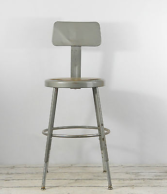 Vintage Industrial Stool Royal Stool Mid Century Lab Stool Metal Shop Stool