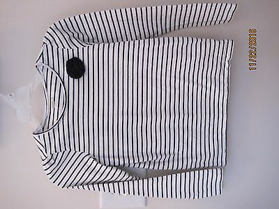Girls CRAZY 8 blue/white striped long sleeve t-shirt SIZE 10/12