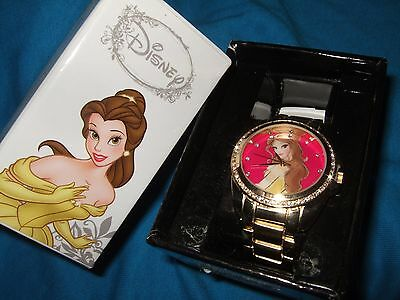 New Disney Beauty And The Beast Princess Belle Gem Accents Watch & In Gift Box