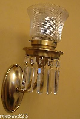 Vintage Lighting matched pair circa 1915 crystal sconces Holophane shades