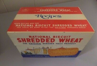 National Biscuit Co SHREDDED WHEAT TIN Cereal Nabisco Premium Vintage Recipe Box
