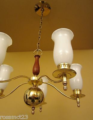 Vintage Lighting Mid Century brass glass walnut chandelier by Moe
