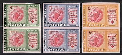 Guinee 1963 Red Cross Set Imperf Pairs Unmounted Mint