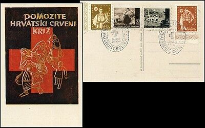 Cr122. Croatia State Special Red Cross Card From Zagreb 1942 Rare