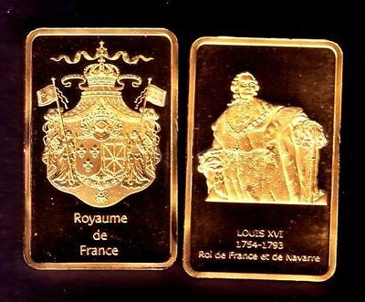 ●● Gold Plated Bar ● France ● Louis Xvi King Of France ●●