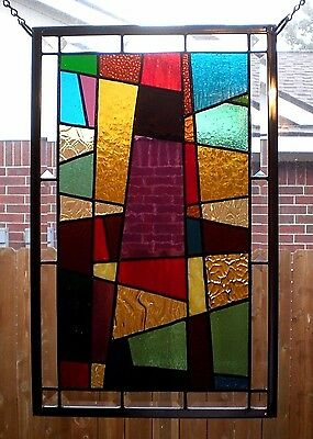 """Stained Glass Window Panel Hanging """"Cathedral""""  18 1/2"""" x 11 1/2"""""""