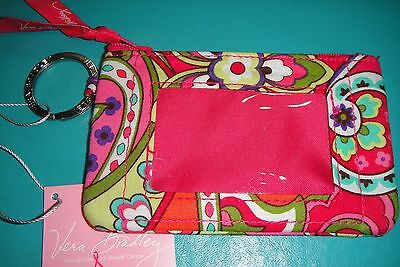 "Vera Bradley  Zip Id Case ""pink Swirls"" Retired Pattern  New With Tags! $12"