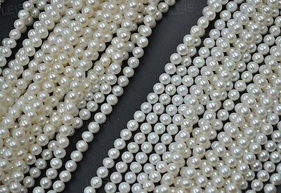 AA+++ wholesale 5X near round white freshwater pearl strands Free shipping