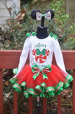 Merry Christmas Red Green Outfit Ribbon trim tutu outfit dress set 6m - 4T