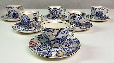 Antique Myott, Son & Co. England 6 Demitasse Cups And Saucers ~ Peony And Rose