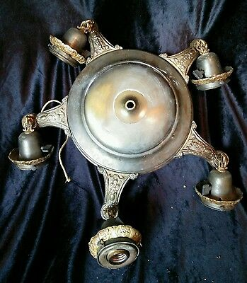 Antique Victorian 5 Light Chandelier Fixture For Parts Repair or Refurbish