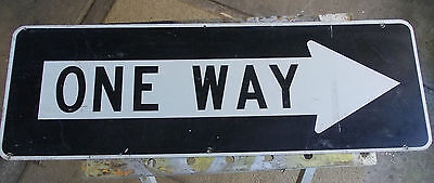 ONE WAY vintage STREET SIGN Aluminium 90cm x 30cm VGC. Man Cave Home Collectable