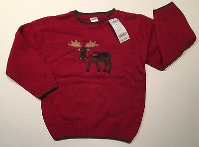 NWT Gymboree Mountain Lodge Size 5 5T Red Moose wearing a Scarf Holiday Sweater