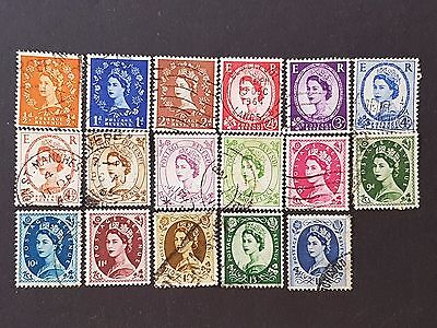 UK Great Britain GB 1958 to 1965 Fine Used Set of 17 Stamps Collection Lot