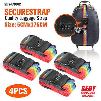4x 3 Digit Luggage Strap Belt Travel Suitcase Packing Password Lock Secure Safe