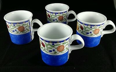 "Dansk Fiance Fruits Four (4) 4"" Mugs Blue  Bands 8 Available Mint"