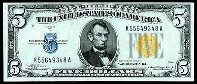 1934 A $5 North Africa Silver Certificate~~About Uncirculated