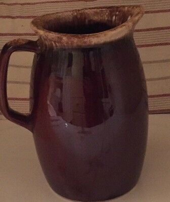 """VTG Hull Oven Proof USA Brown Drip Stoneware Pottery Jug Pitcher 7"""""""