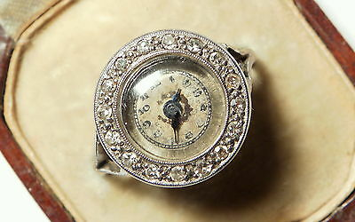 Antique Art Deco Watch & Diamond 18ct White Gold Ring & orig. case