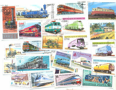 Trains & Railways collection of 100 all different stamps
