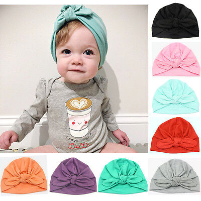 Baby Toddler Boy Girl Indian Style Stretchy Solid Turban Hat Hair Head Wrap Cap