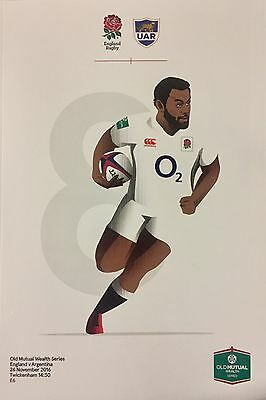 England V Argentina Programme 2016 Brand New Old Mutual Wealth Series