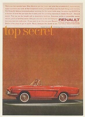 1961 Renault Caravelle Detachable HardTop Top Secret Ad