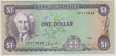 1987 $1 One Dollar Bank Of Jamaica  Note Uncirculated 849