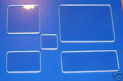 Acrylic Blocks, Rubber Stamps, Set Of 5.