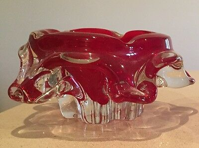 Genuine 1960's Murano Glass From Italy Ashtray Bowl Dish, Red - Like New