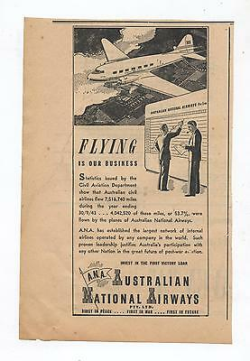 Australian National Airways Advertisement removed from a 1944 Newspaper ANA WW2