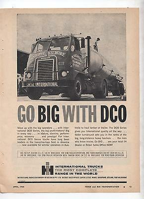 International DCO Truck Original Advertisement removed from a Magazine