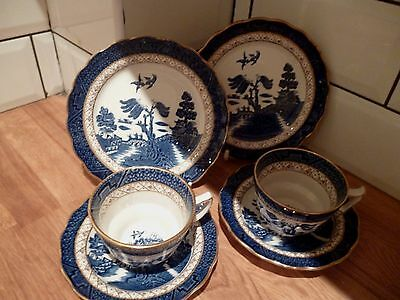 BOOTHS VINTAGE REAL OLD WILLOW TRIOS ~ Cups, Saucers & Plates great condition