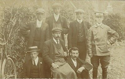 Social History, Group Of Outside Staff, Unknown Location, Sepia Photo Postcard
