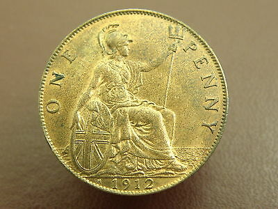 1912 King George V - 'H' HEATON MINT - BRONZE PENNY COIN - High Grade