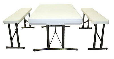 Outback Camp Beer Folding Plastic Table Set +Two Folding Benches Outdoor Camping
