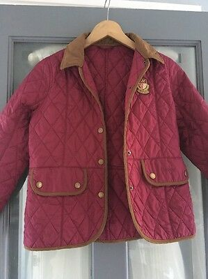 Girls Childs Barbour Liddesdale Quilted Coat Jacket Pink 10 / 11 years