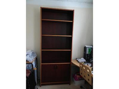 Bookcase 4 Shelves 2 Door Cupboard (with 1 shelf) Large Strong for Home/Office