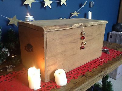 Vintage Pine Storage Box. Charming Rustic Wooden Chest.
