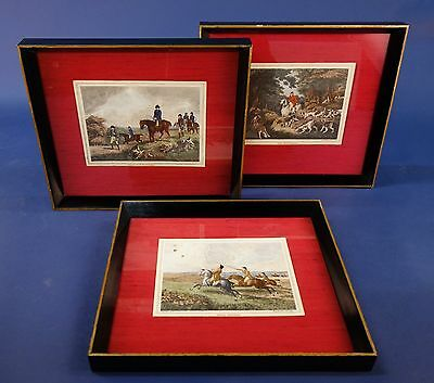 Three Framed Samuel  Howitt Hunting Prints, Georgian Art Prints