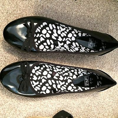 New Black F&F Flat Dolly Ballerina Shoes Size 7