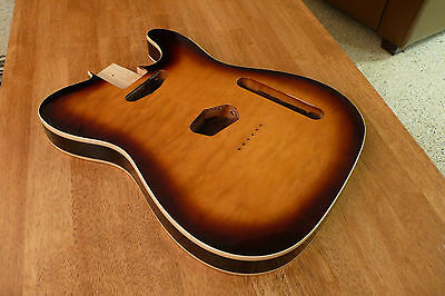 Guitar Body Quilted Maple Top White Binding Brown Sunburst For Telecaster