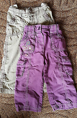 2 pairs girls jeans - adjustable waist  - age 18-24 months