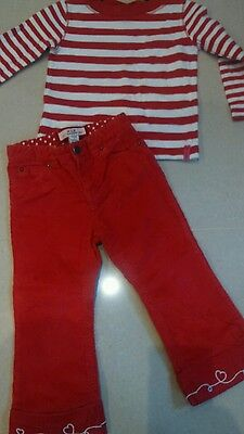 Girls Baby Gap red stripy long sleeved top & trousers pants cords. Age 2