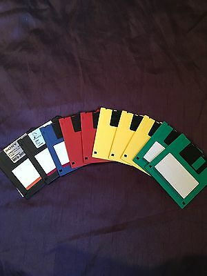 "3.5"" 1.44mb Coloured Floppy Discs X 10 Sony Maxell In Clear Hard Storage Box"