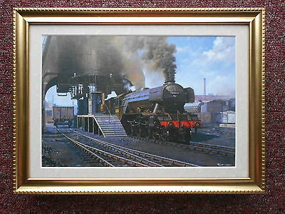 Malcolm Root Steam Train print 'Coaling A Pacific' FRAMED