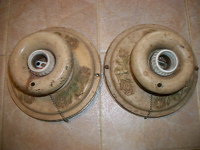 Antique Pair Art Deco PolyChrome? Ceiling Light Fixtures Flush Mount